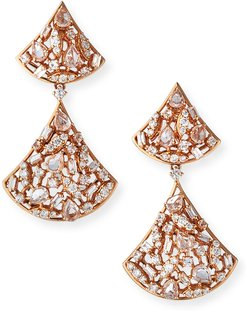 18k Diamond/Sapphire Cluster-Drop Earrings