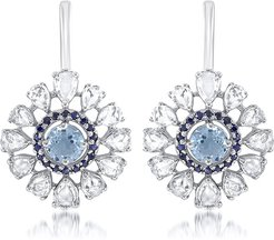 Rosette 18k White Gold Floral Aquamarine Earrings w/ Sapphires