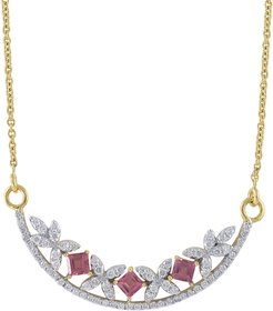 Raina 18k Diamond Pink Tourmaline Crescent Necklace