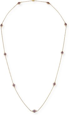 18k Long Diamond and Purple Amethyst Necklace