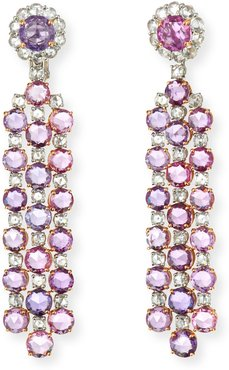 Pink/Purple Sapphire Dangle Earrings