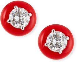 18k White Gold Red Ceramic 1-Diamond Stud Earrings