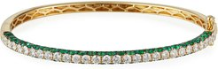 18k Yellow Gold 3-Sided Emerald/Diamond Bracelet