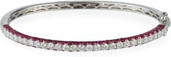18k White Gold 3-Sided Ruby/Diamond Bracelet
