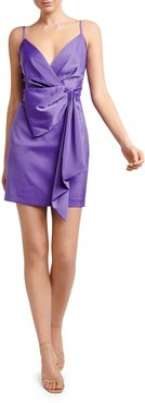 Lindsey Sleeveless Mock-Wrap Drape-Front Satin Dress