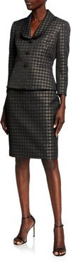 Metallic Houndstooth Shawl Collar Skirt Suit