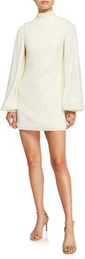 Lunia Sequined High-Neck Blouson-Sleeve Dress