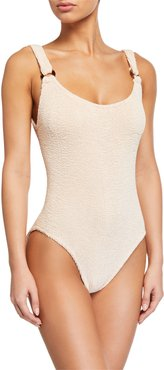 Domino Scoop-Neck One-Piece Swimsuit
