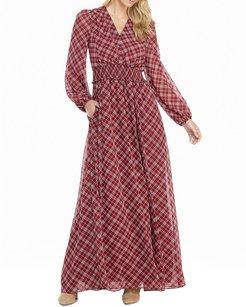 Petite Tartan Plaid Printed Long-Sleeve Chiffon Maxi Dress