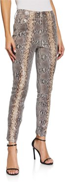 Madrid Snake-Print Skinny Leather Pants