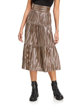Poly Pleated Metallic Midi Skirt