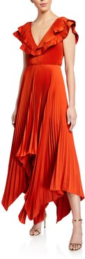 Tampico V-Neck Pleated Crepe Gown w/ Asymmetrical Hem