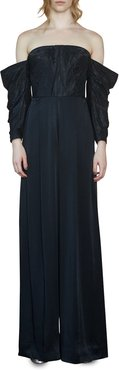 Judith Moire & Crepe Off-the-Shoulder Full-Sleeve Jumpsuit