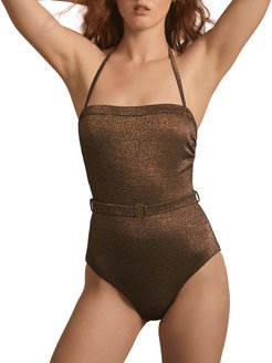 Nathalie Metallic Strapless One-Piece Swimsuit