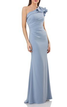 One-Shoulder Ruffled Crepe Gown