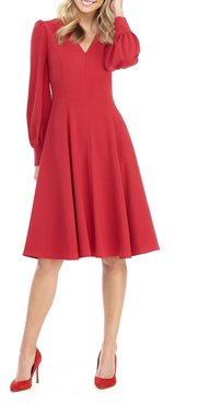 V-Neck Blouson-Sleeve Fit-&-Flare Dress