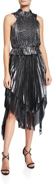 Eve High-Neck Pleated Metallic Handkerchief Dress