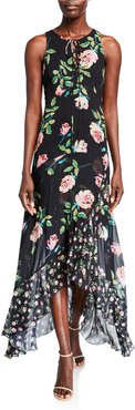 Roses Lace-Up Sleeveless High-Low Maxi Dress