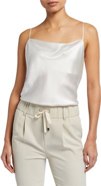 Silk Charmeuse Cowl-Neck Cami