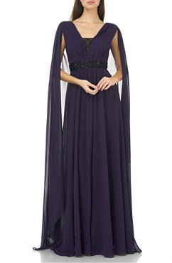 Beaded V-Inset Chiffon Gown with Cape