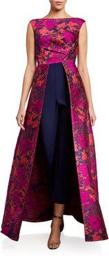 Poppy Floral Brocade Sleeveless Jumpsuit with Overskirt