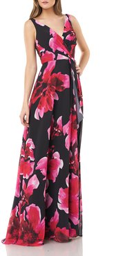 Floral Printed Chiffon Surplice Gown