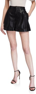 Conry Pleated Leather Shorts
