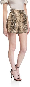Dale Pleated Snake-Print Leather Shorts