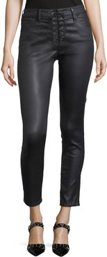 Farrah Lace-Up High-Rise Skinny Ankle Pants