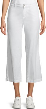 Cropped Straight-Leg Poplin Pants