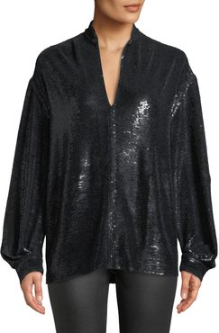 Great Sequin Long-Sleeve Tunic Top