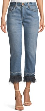 Cropped Straight-Leg Jeans with Ostrich Feathers