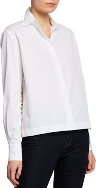 Draped Button-Up Blouse with Confetti Details
