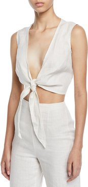 Marcie Plunging Cropped Tie Top