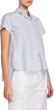 Striped Button-Front Short-Sleeve Draped-Back Cotton Shirt