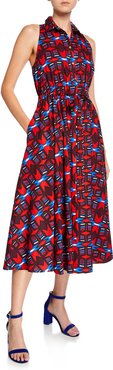 Halter-Neck Button-Front Geometric-Print Dress w/ Pockets