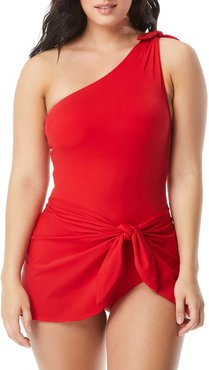 One-Shoulder Solid Sarong One-Piece Swimsuit