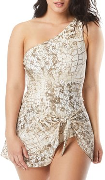 Printed One-Shoulder Sarong One-Piece Swimsuit