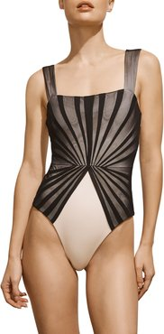 Avril Pleated-Mesh Maillot, Black and Ivory