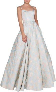 Floral-Print Square-Neck Sleeveless Ball Gown