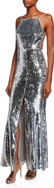 Sequin Halter Low-Back Gown with Split