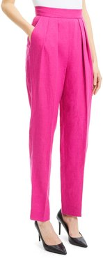 High-Rise Pleated Pure Linen Pants