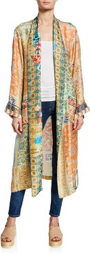 Plus Size Prima Printed Long-Sleeve Silk Twill Robe