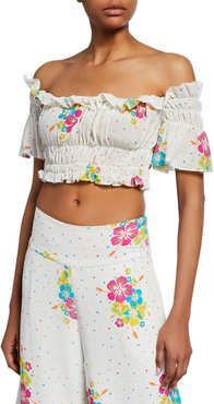 Eva Dotted Floral-Print Off-the-Shoulder Ruffle Crop Top