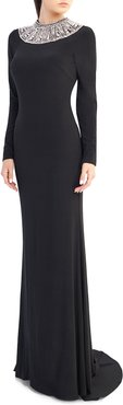Embellished Crewneck Long-Sleeve Jersey Gown
