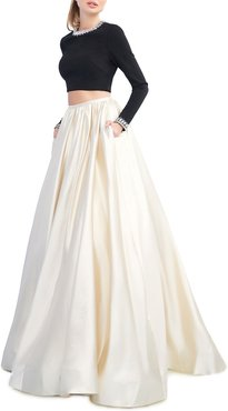 Colorblock Two-Piece Ball Gown Set w/ Beaded Neck Crop Top & Pleated Skirt