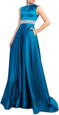 Embellished High-Neck Sleeveless Satin Gown with Pockets