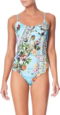 Printed Round-Neck One-Piece Swimsuit