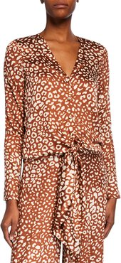 Neary Leopard-Print Tie-Front Top
