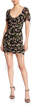 Biscotti Floral-Print Fitted Mini Dress with Ties